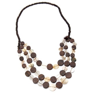Shell and Wood 30-inch Fashion Necklace