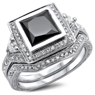 Noori 14k White Gold 2 1/3ct TDW Certified Princess-cut Black/ White Diamond Bridal Set (G-H, SI1-SI2)