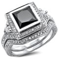 14k White Gold 2 1/3ct TDW Certified Princess-cut Black/ White Diamond Bridal Set (G-H, SI1-SI2)