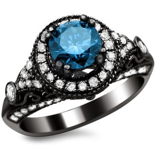 14k Black Gold 1 2/5ct TDW Certified Round-cut Blue/ White Diamond Vintage Style Ring (G-H, SI1-SI2)