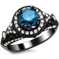 14k Black Gold 1 1/3ct TDW Certified Round-cut Blue/ White Diamond Vintage Style Ring (G-H, SI1-SI2)