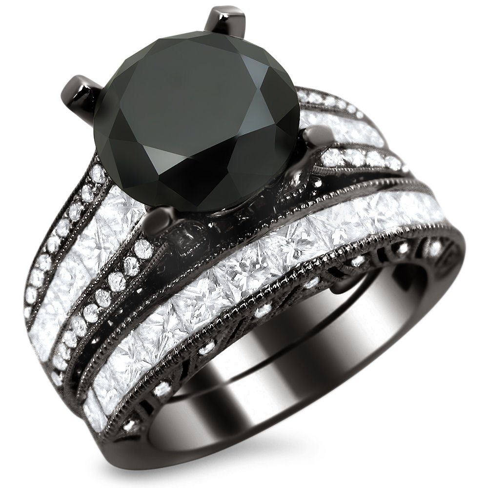 18k Black Gold 5 3/4ct TDW Certified Black/ White Diamond Bridal Set (E-F, VS1-VS2)