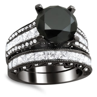 Noori 18k Black Gold 5 3/4ct TDW Certified Black/ White Diamond Bridal Set (E-F, VS1-VS2)
