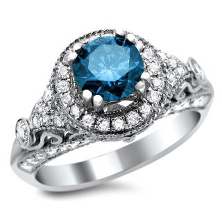 14k White Gold 1 1/8ct TDW Certified Blue/ White Diamond Vintage Style Ring (G-H, SI1-SI2)
