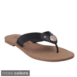 BLOSSOM Women's 'Pinky-3' Metal Applique Flip-flops