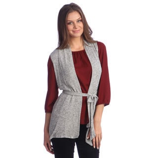 Women's Silver Sparkle-knit Vest