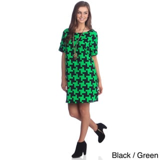 Hadari Women's Two-tone Houndstooth Print Dress