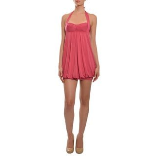 BCBG MAXAZRIA Women's Pink Halter Mini Dress
