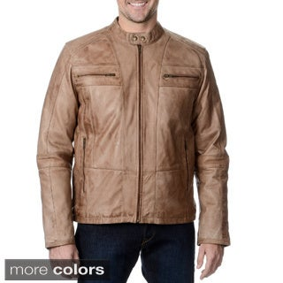 Whet Blu Men's Leather Zip-front Mandarin Collar Jacket