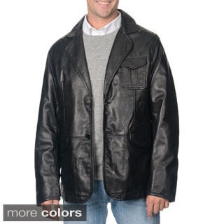 Whet blu Men's Leather 2-Button Jacket