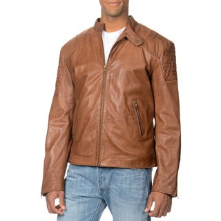 Whet Blu Men's Whiskey Leather Zip-front Jacket