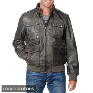 Whet blu Men's Leather Zip-front Jacket with Belted Stand Collar