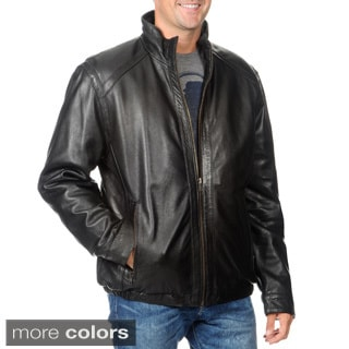 Whet Blu Men's Leather Zip-front Stand Collar Jacket