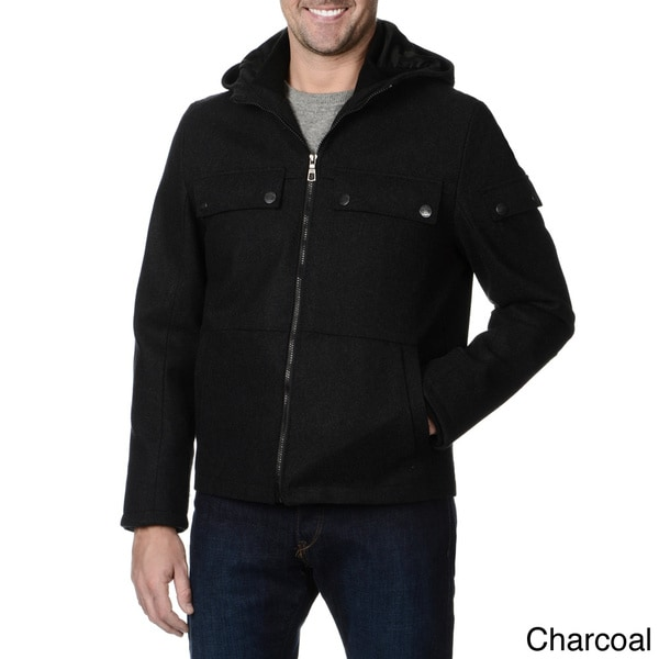 Fleet Street Men's Hooded Zipper Front Wind and Water Resistant Jacket (As Is Item)