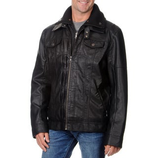 Fleet Street Men's Faux Leather with Removable Center Bib Jacket