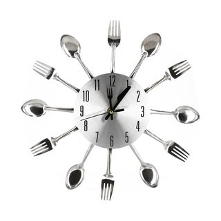 Kitchen Decor Spoon Fork Chrome Clock