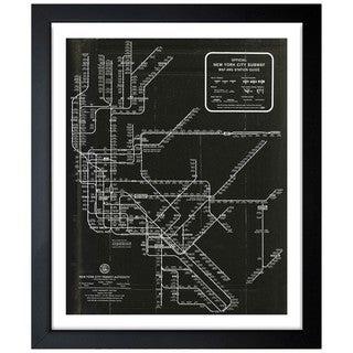 Oliver Gal 'New York Subway Map 1958' Framed Art