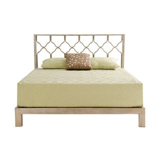 Honeycomb Gold Metal Headboard and Aura Gold Platform Bed