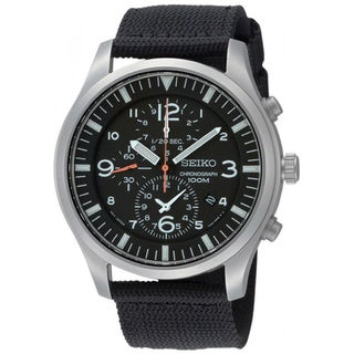 Seiko Men's Chronograph Black Nylon Watch