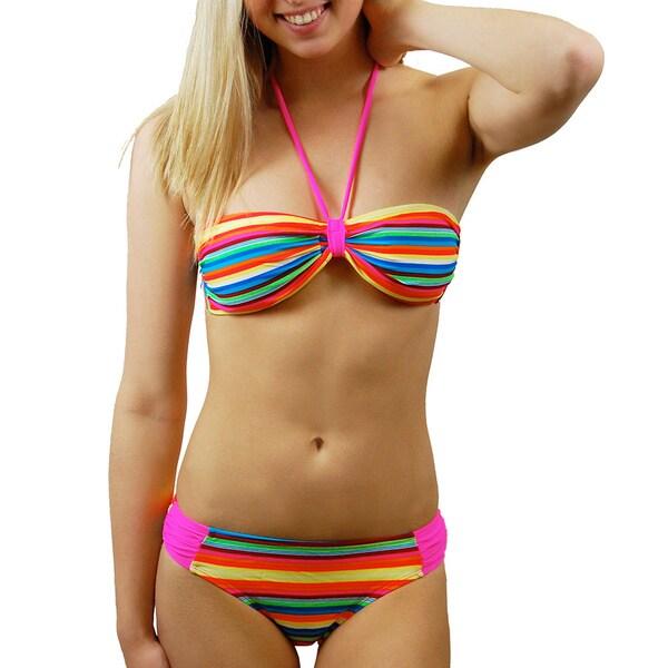 Winki Swim Juniors Multi-striped Bandeau 2-piece Swimsuit