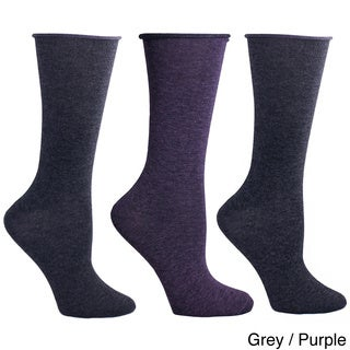 Ladies Combed Cotton Roll Top Socks (3 Pairs)