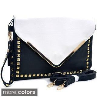 Dasein Large Two-tone Studded Envelope Clutch
