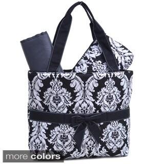 Rosen Damask Print 3-piece Diaper Bag Set