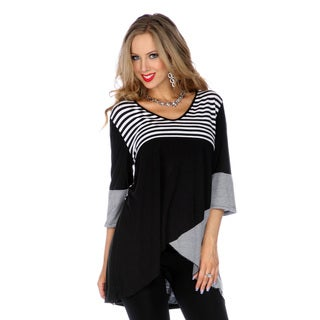Women's Black and White Striped Scheme Spliced Top