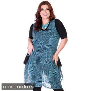 Women's Plus Size Mesh Patchwork Sheer Dress