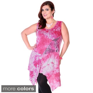 Women's Plus Size Mixed Media Patchwork Spliced Top