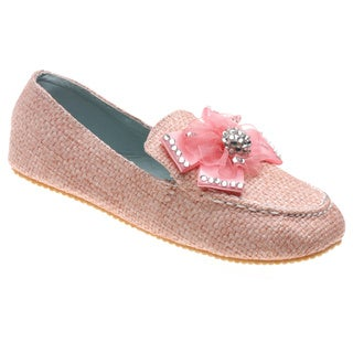 Crinkle Girls Pink Tweed Luxurious Bow-topped Loafers