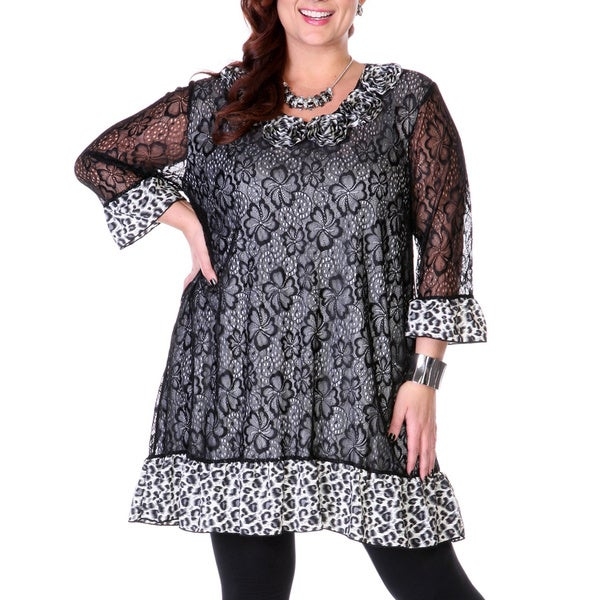 Women's Plus Size Leopard and Lace Tunic