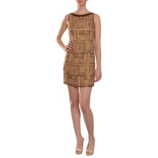 Mark Bouwer Women's Metallic Bronze Beaded Silk Cocktail Dress