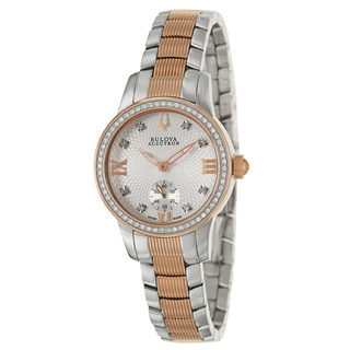 Bulova Accutron Women's 'Masella' Stainless Steel and Rose Gold Plated Swiss Quartz Watch
