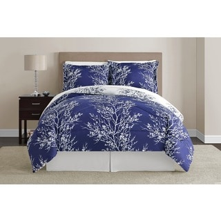 Navy and White Leaf 8-piece Comforter Set