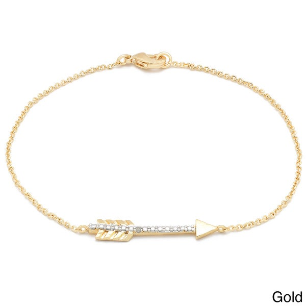 Finesque Diamond Accent Sideways Arrow Chain Bracelet