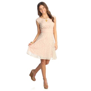 London Times Women's Peach Lace Overlay Fit-and-flare Dress