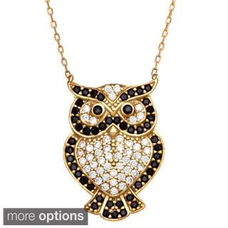 La Preciosa Sterling Silver Black/ White Cubic Zirconia Owl Necklace