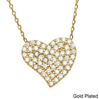 La Preciosa Sterling Silver Cubic Zirconia Heart Necklace