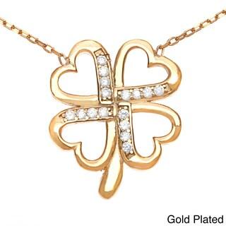 La Preciosa Sterling Silver Cubic Zirconia 4-leaf Clover Necklace