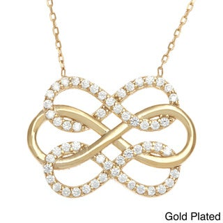 La Preciosa Sterling Silver Cubic Zirconia Intertwined Triple Infinity Figure 8 Necklace