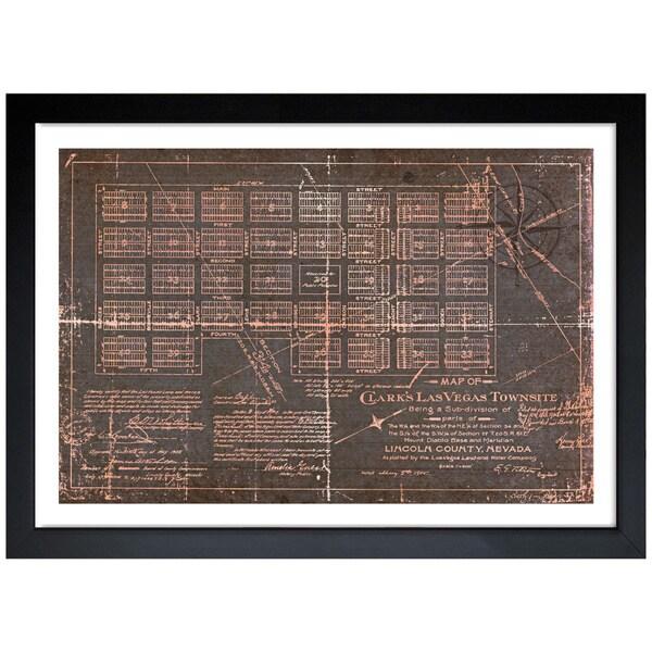 Oliver Gal 'Las Vegas Map' Framed Art Print