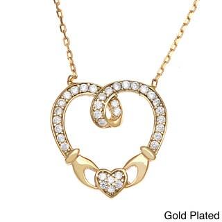 La Preciosa Sterling Silver Cubic Zirconia Claddagh Heart Necklace