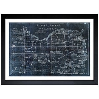 Oliver Gal 'Ghost Towns Map 1866 Noir' Framed Print Art