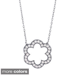 La Preciosa Sterling Silver CZ Open Flower Necklace