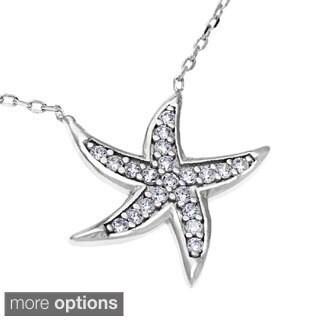 La Preciosa Sterling Silver Cubic Zirconia Star Necklace