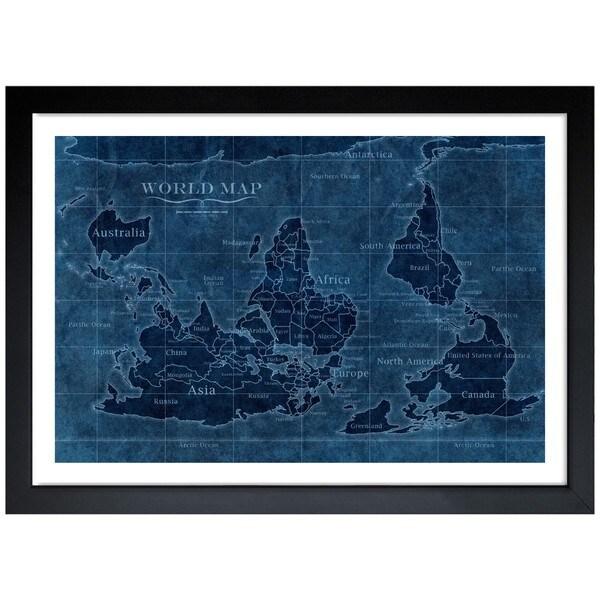 Oliver Gal 'Upside-Down Map of the World' Framed Art Print