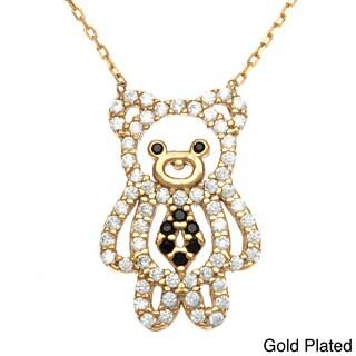 La Preciosa Sterling Silver Cubic Zirconia Teddy Bear Necklace