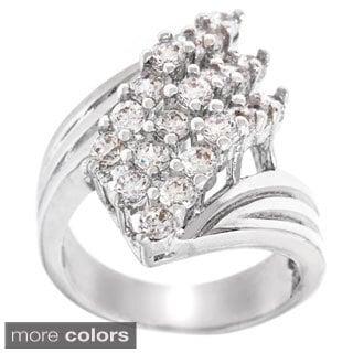 Simon Frank Silvertone Cubic Zirconia 3-row Waterfall Fashion Ring