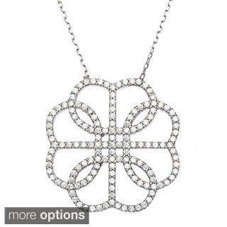La Preciosa Sterling Silver Round-cut Cubic Zirconia Necklace